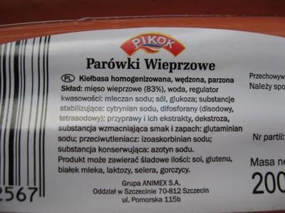 parówki składniki etykieta